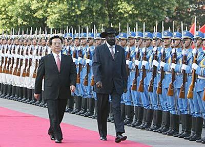 Chinese President Hu Jintao with the President of South Sudan Salva Kiir