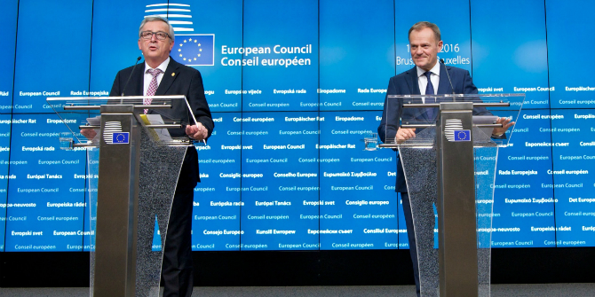 European Council president Donald Tusk and EU Commission president Jean-Claude Juncker