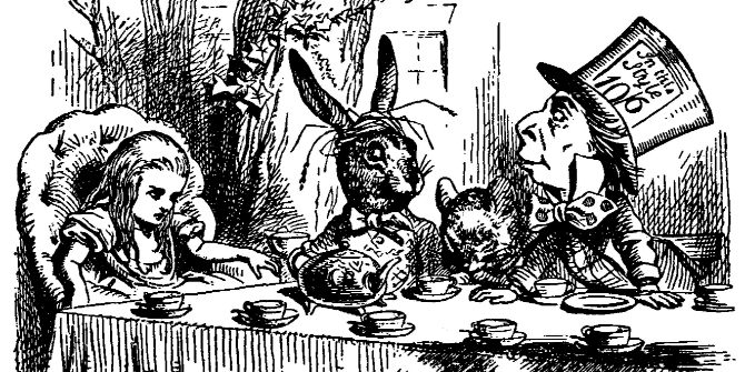 The Hatter's hat shows an example of the old pre-decimal system: the hat costs half a guinea (10 shillings and 6 pence)