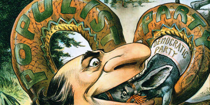 """A Populist snake swallowing the Democratic Party""; 1896 cartoon from the pro-GOP magazine Judge"