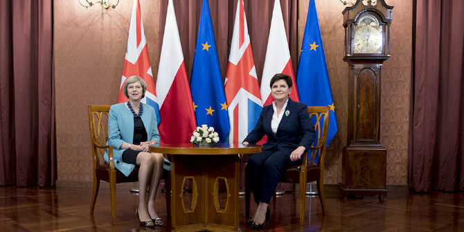 Theresa May with the Polish PM Beata Szydło in Warsaw