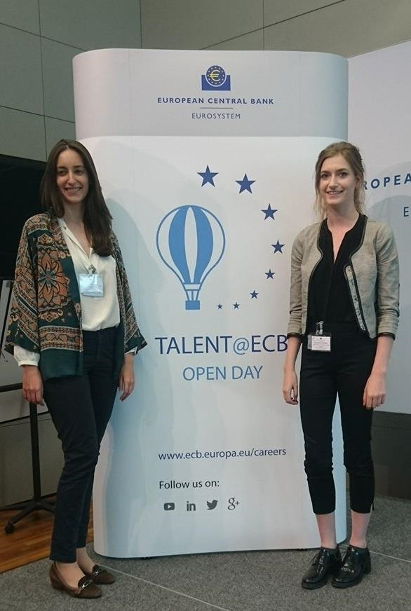 LSE students Charlotte and Laura at the ECB, Frankfurt