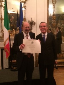 Maurice receiving the award of Cavaliere dell'Ordine della Stella d'Italia from the Italian Ambassador to the UK on 7 December 2015