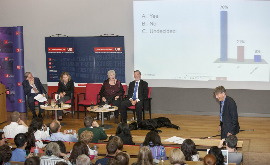 Image of the crowd, the panel and Conor Gearty at the Crowdsourcing a New UK Constitution event