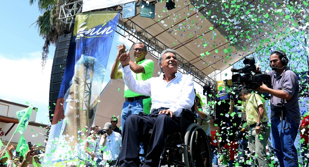 Lenín Moreno on the campaign trail prior to his election victory in April 2017