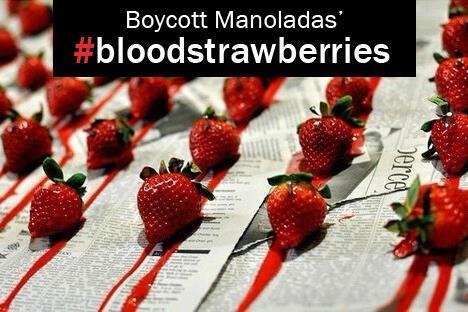 This image was widely used in the campaign to boycott Manolada strawberries, circulated in social media after the shooting in 2013.