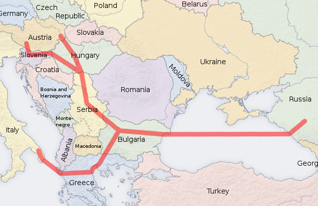 Proposed route of South Stream pipeline, Credit: San Jose/Patrol110 (CC-BY-SA-3.0)