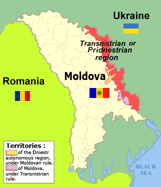 Transnistrian Territory in relation to Moldova, landlocked along the border with Ukraine. Credits: Serhio (CC BY 3.0)