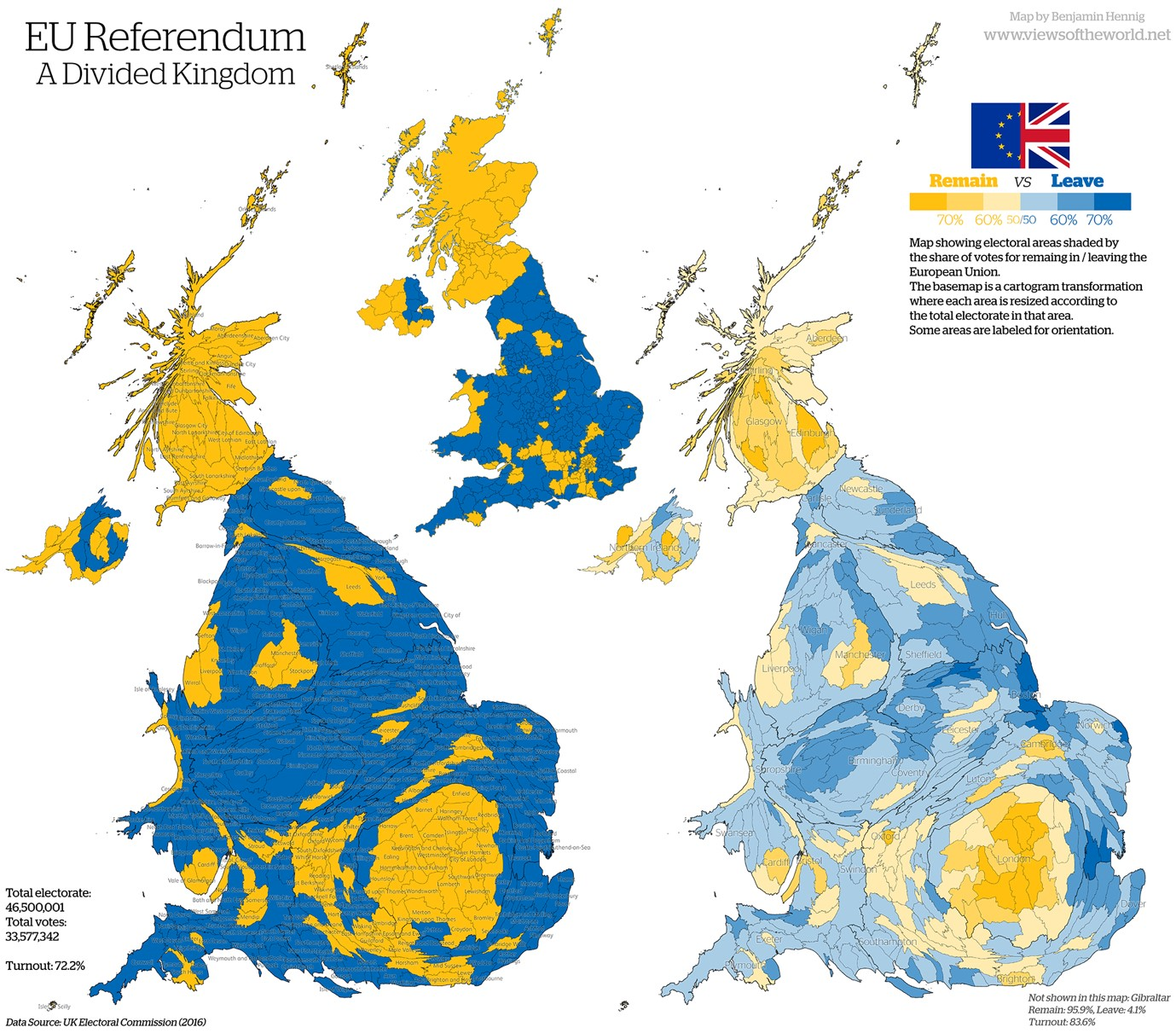 a cartogram depicting the distribution of the remain and the leave votes in the european union referendum 23 june 2016 with the exception of scotland