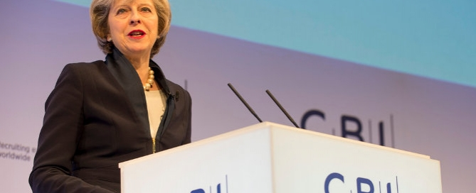 Theresa May speaking at the CBI, Credit: Tom Evans / Crown Copyright