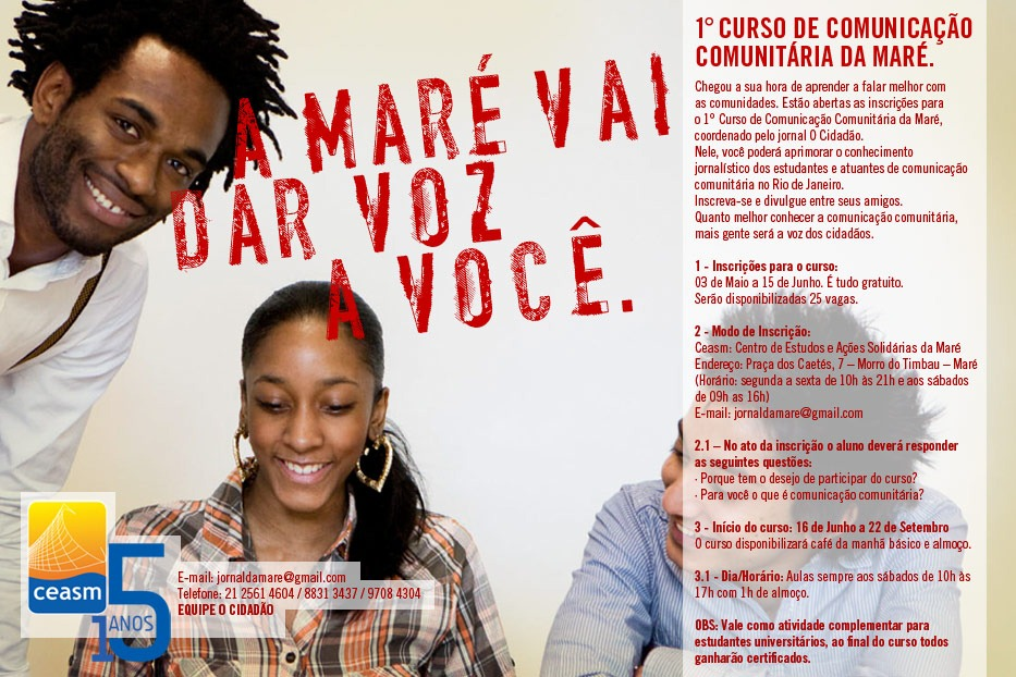 """""""Maré will give you voice"""": Poster circulated online announcing the first community media course at O Cidadão in 2012."""