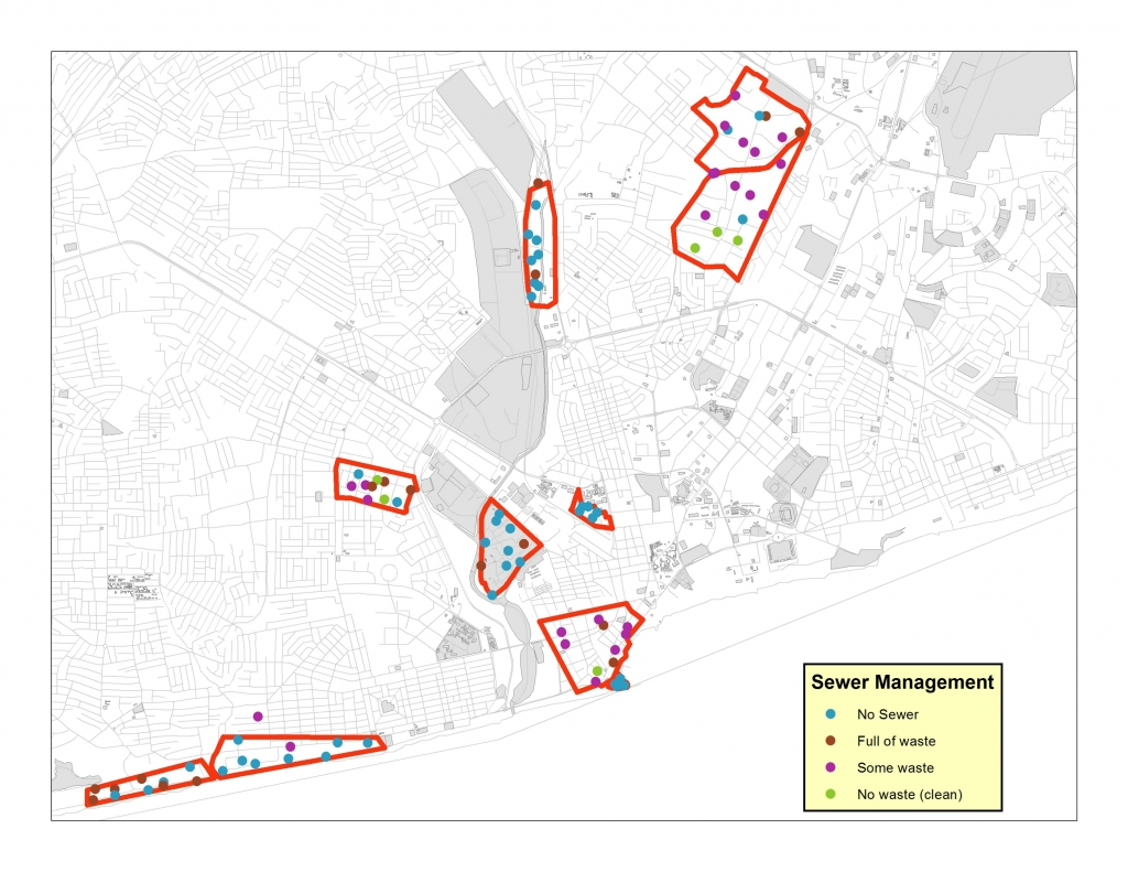 This map demonstrates the variation in the cleanliness of sewers across ten slum neighborhoods in Accra, Ghana's capital city. All data was collected in April 2013. Data was also collected on the management of other public services like streetlights, roads, litter collection, and public toilets.