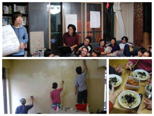 Bin-Zib's everyday life is characterized by the putting into practice of autonomous activities. Without explicitly stated ideologies, rules or chain of commands, Bin-Zib members rely on consensus building in their everyday practice, cultivating the atmosphere of sharing and hospitality often in forms of feasts and collective events. (Photo by Bin-Zib members in 2009-2010, edited by D. Han