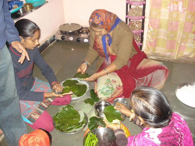 Building relationships during field work: New Year was spent making and eating paaniya, a local delicacy. Building relationships that crossed professional boundaries allowed me to participate in celebrations restricted to family and close friends (Photograph by Chandni Singh, January 2012)