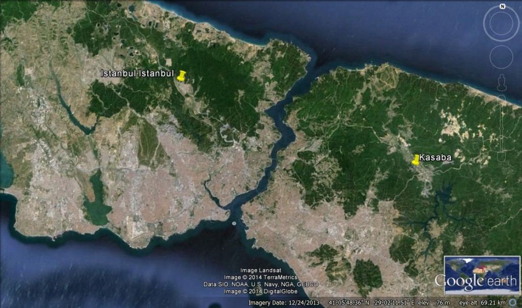 The yellow pins indicate the locations of Istanbul Istanbul (on the left side) in Gokturk and Kasaba (on the right side) in Omerli. The map is from Google Earth, the pins are drawn by the author. Istanbul is divided by Bosporus into European and Asian sides. The North of the city is covered by native forests, which gradually declined due to urban sprawl, and experienced the construction of gated communities and their facilities. In the future, it is expected that Gokturk and Omerli will experience further changes as a result of the construction of the 3rd Bosporus Bridge and Airport.