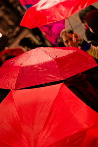 Red umbrellas at sex workers rights protest 2007
