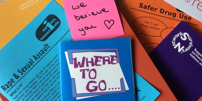 Image of several flyers and brochures relating to sexual violence