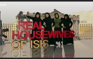 Screen shot of BBC website showing women wearing Muslim dress and the title of the show 'The Real Housewives of ISIS'