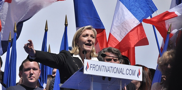 Photo of Marine Le Pen at a campaign rally