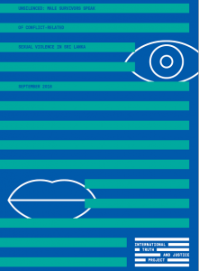 Graphic of report front page, in blue and turquoise stripes with white outlines of an eye to the top right and a mouth to the bottom-left