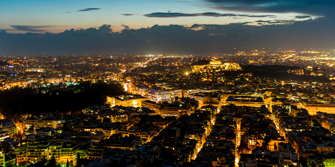 The Athens skyline at dusk