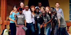 Bella with her team of international and national volunteers in Makeni, Sierra Leone