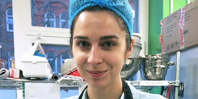 Government student and LSE Volunteer of the Year Award Nominee Laura Price works in the kitchen for Foodcycle.
