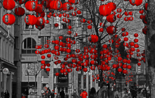 Lanterns in St Annes Square, Manchester, for the Chinese New Year Photocredit:Gidzy