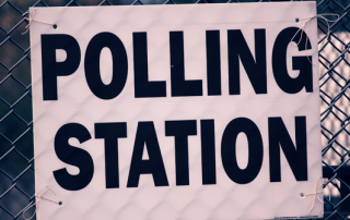 A sign outside a polling station