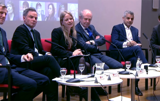 Sian Berry, Zac Goldsmith, Sadiq Khan, Caroline Pidgeon and Peter Whittle at the LSE's 28 January Mayoral hustings event.