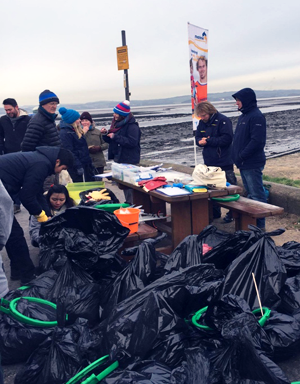 Volunteers surveying marine litter as part of the Beachwatch initiative