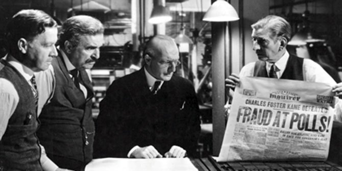 """FRAUD AT POLLS!"" - still from the film Citizen Kane"