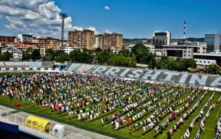 'Thinking of You' art installation in the football stadium of Prishtina, Kosovo, 2015. Photocredit: Artist Alketa Axafa-Mripa