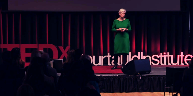 Anne Phillips on stage at the TEDxCourtauldInstitute conference