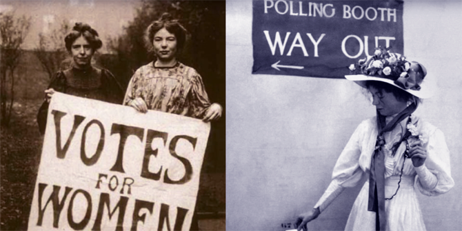 Images of Suffragettes and early women voters