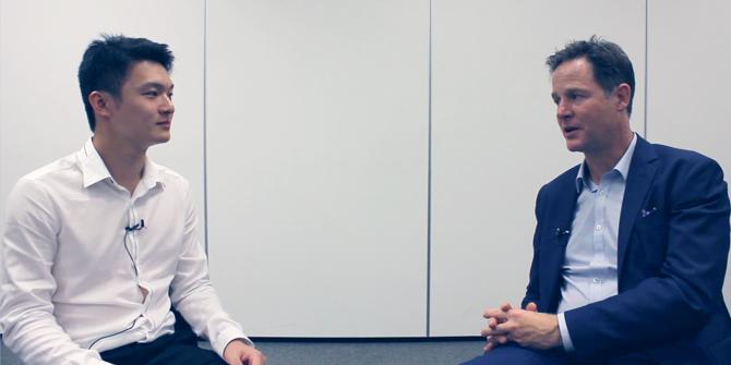 Quintus Lim speaks to Nick Clegg MP