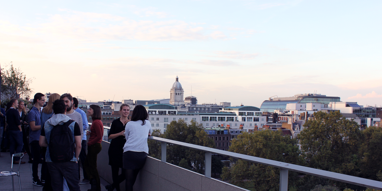 MSc Comparative Politics students enjoy the view of London from the NAB terrace