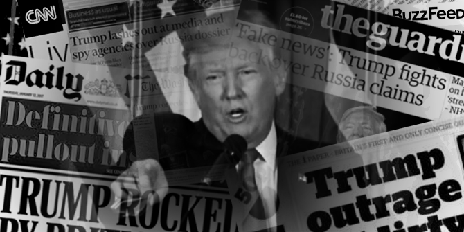 Composite image of Donald Trump pointing, surrounded by clippings of newspaper headlines