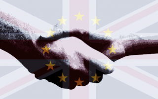 The British and EU flags overlayed over and image of a handshake