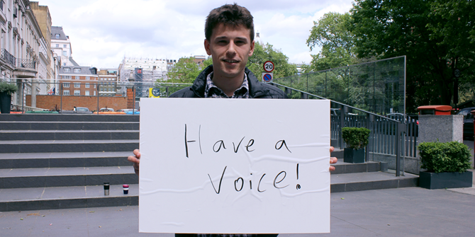 """Have a voice!"" - James (LSE Geography & Environment)"