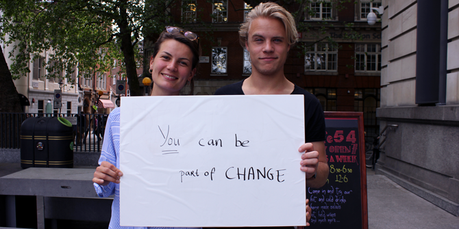 """You can be part of change"" - Linde (LSE International Relations) & Max (UCL)"