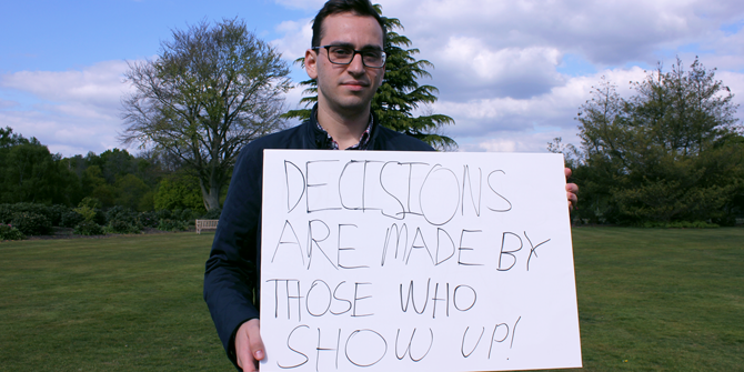 """Decisions are made by those who show up!"" - Matthew (LSE Government)"
