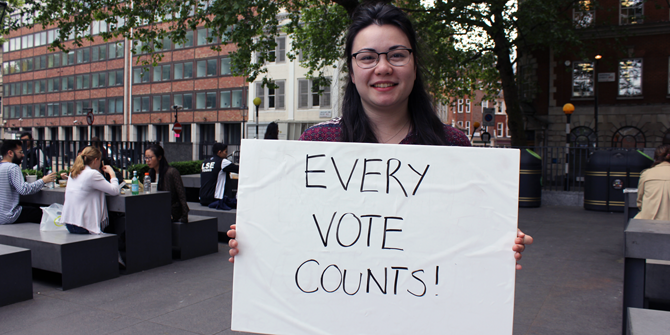"""Every vote counts!"" - Serena (LSE Social Policy)"
