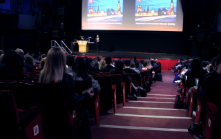 Professor Cheryl Schonhardt-Bailey Welcomes our new MSc students to the department in the Peacock Theatre