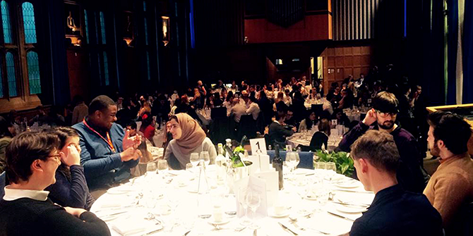 The UPR team enjoying a formal dinner at the BCUR 2018