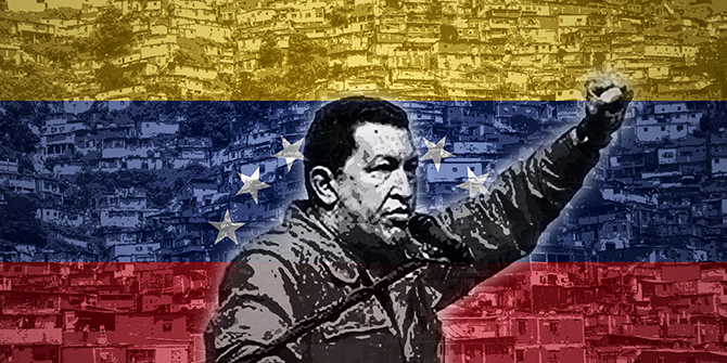 A composite image showing Hugo Chavez speaking with the Venezuelan flag overlaying a picture of slums in the background.