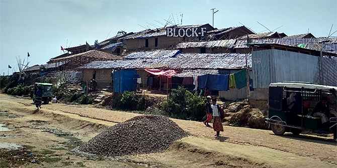 A view of Block F in Jamtoli refugee camp in Bangladesh