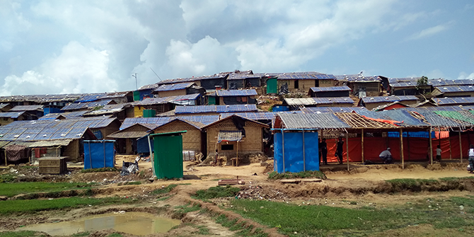 A landscape view of shacks in a Rohingya refugee camp in Bangladesh