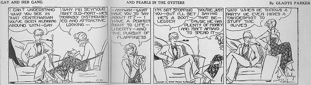 Figure 9: 'And Pearl in the Oysters', Gay and Her Gang by Gladys Parker, 1925