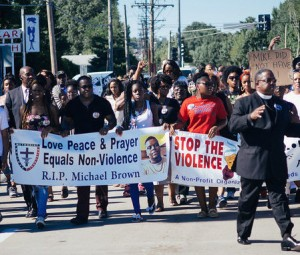 Protesters in Ferguson, Missouri: August 2014